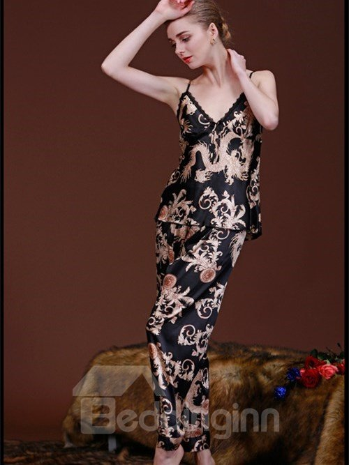 Luxury Noble Print 3-Piece Imitated Silk Pajama Set