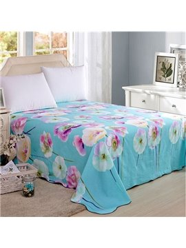 Fresh Flowers Print Cotton Blue Printed Sheet