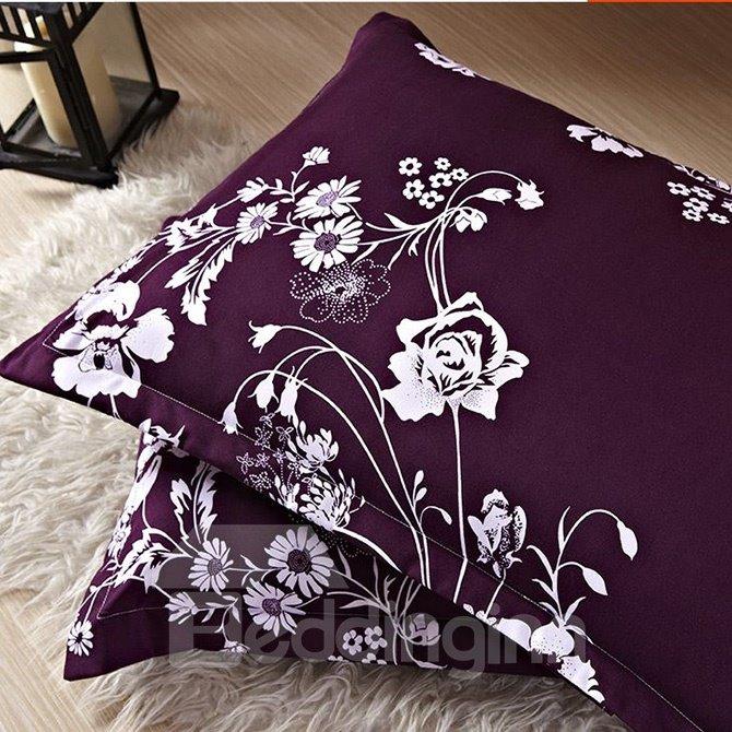 Noble Flowers Print European Style Purple 4-Piece Bedding Sets