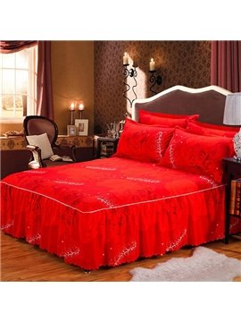 Romantic Luxury Red Rose Printing Bed Skirt