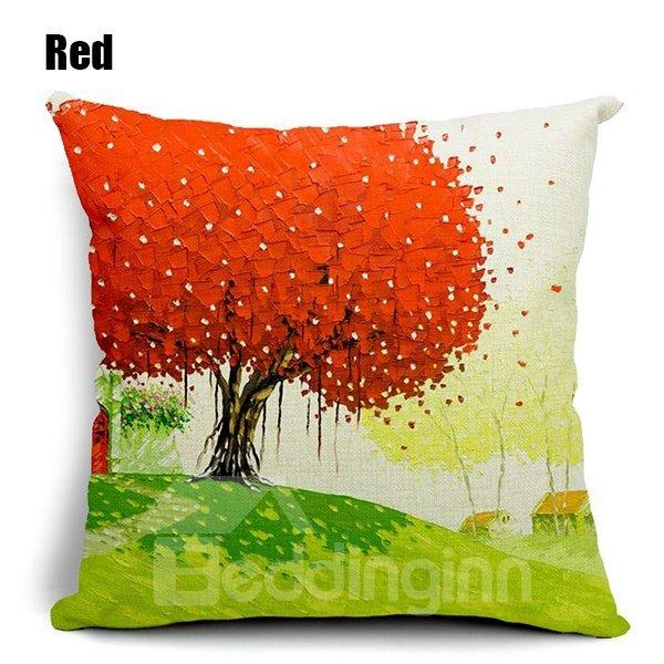 Pastoral Fresh Tree Scenery Printing Throw Pillow