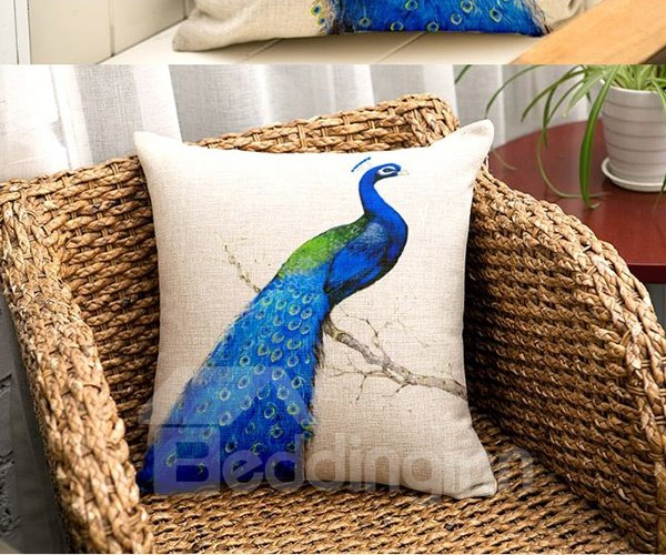 Graceful Blue Peacock Printing Flax Throw Pillow