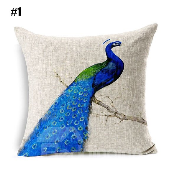Peacock Blue Throw Pillows : Graceful Blue Peacock Printing Flax Throw Pillow - beddinginn.com