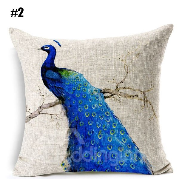 Peacock Blue Throw Pillow : Graceful Blue Peacock Printing Flax Throw Pillow - beddinginn.com