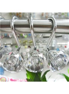 Concise Diamond Design 12-Pieces Shower Curtain Hooks
