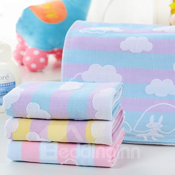 Cloud Pattern Cotton Water Absorption Baby Bath Towel