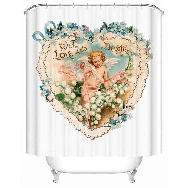 Creative Heart-shaped Cupid Design Bathroom Shower Curtain