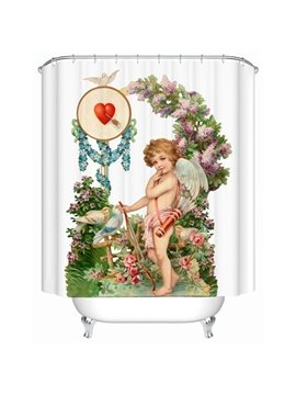 European Style Cupid and Flowers Shower Curtain