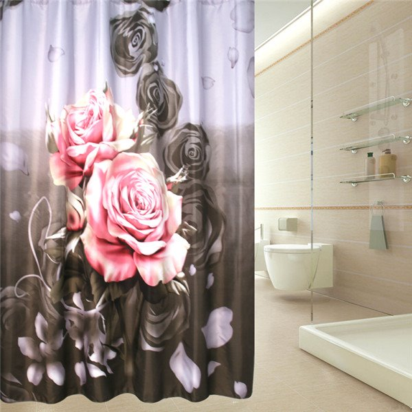 Wonderful Smiling Rose Print Waterproof Shower Curtain
