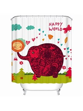 Unique Cartoon Happy World Elephant Shower Curtain