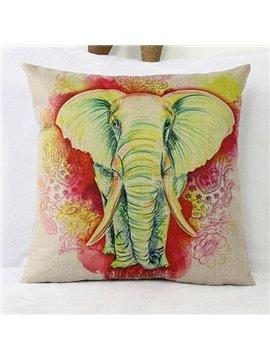 Cartoon Hand-painted Elephant Linen Throw Pillow Case