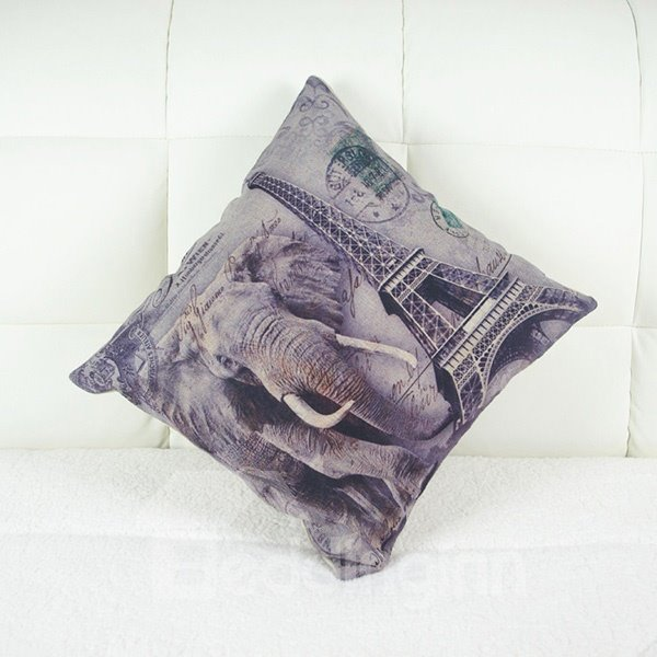 Creative Elephant & Eiffel Tower Print Linen Throw Pillow Case
