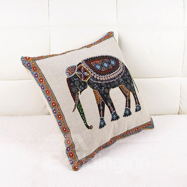 European Vintage Style Colorful Elephant Print Throw Pillow Case
