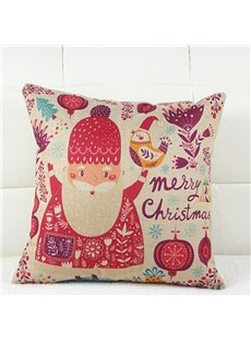 Cartoon Santa Claus Design Linen Throw Pillow Case for Christmas