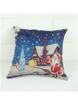 Santa Claus & Snow Flake Print Linen Throw Pillow Case for Christmas