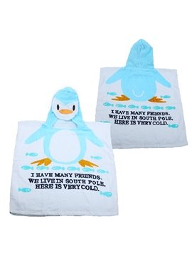 Cute Blue Penguin Baby and Kids Bath Towel