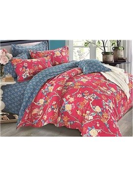 European Pastoral Style Flowers Birds Print 4-Piece Duvet Cover Sets