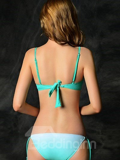 Sexy Gradient Diamond Design Push Up Underwear with Wire and Falsie Bikini Set