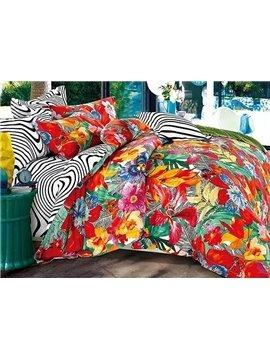 Dazzling Colorful Flowers Print 4-Piece Duvet Cover Sets