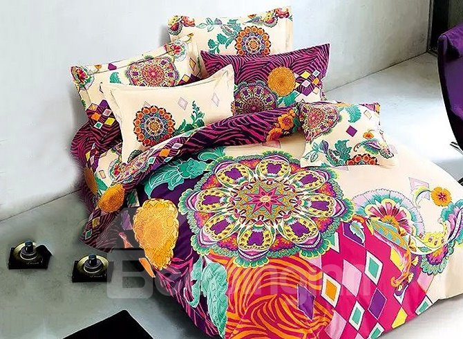 European Style Colorful Big Flowers Printing 4 Piece Duvet