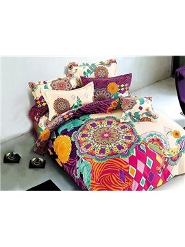 European Style Colorful Big Flowers Printing 4-Piece Duvet Cover Sets