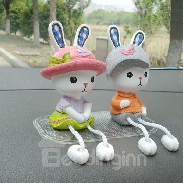 One Cute Couple Of Rabbits Creative Car Decor