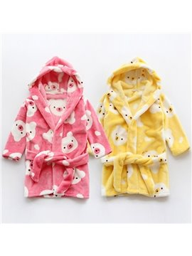 Fresh Colored Baby Bear Pattern Kids Robe