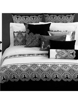 Modern Black White Classical Jacquard Design 4-Piece Cotton Duvet Cover Sets