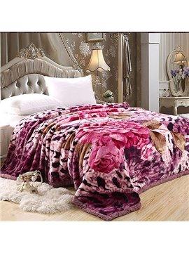 Sumptuous Peony Leopard Printing Coral Fleece Blanket