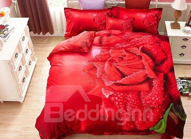 Dewy Red Rose 4-Piece Cotton Duvet Cover Sets