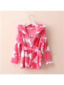Warm and Soft Small Rabbit Pattern Kids Robe