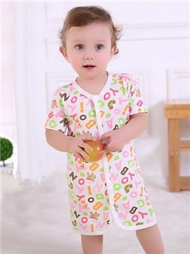 Cute Colorful Letters Pattern Cotton Kids Pajama