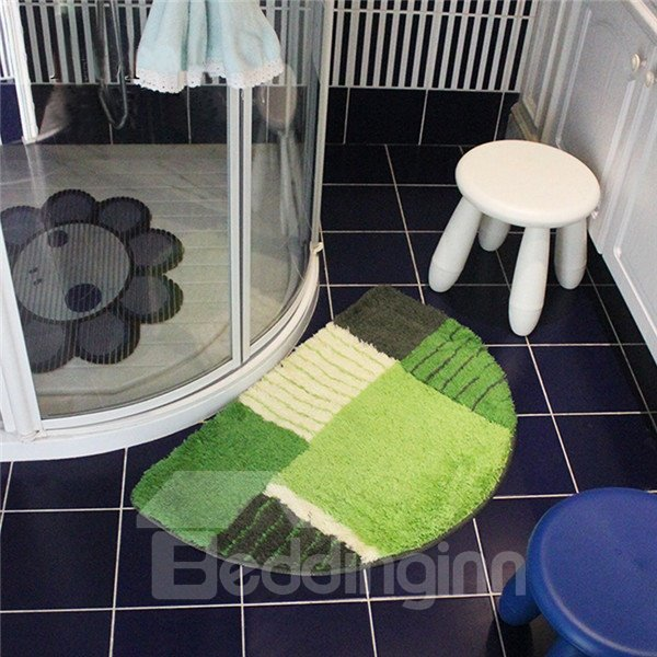 Durable Half Round Soft Block Color Bath Rug Beddinginn Com