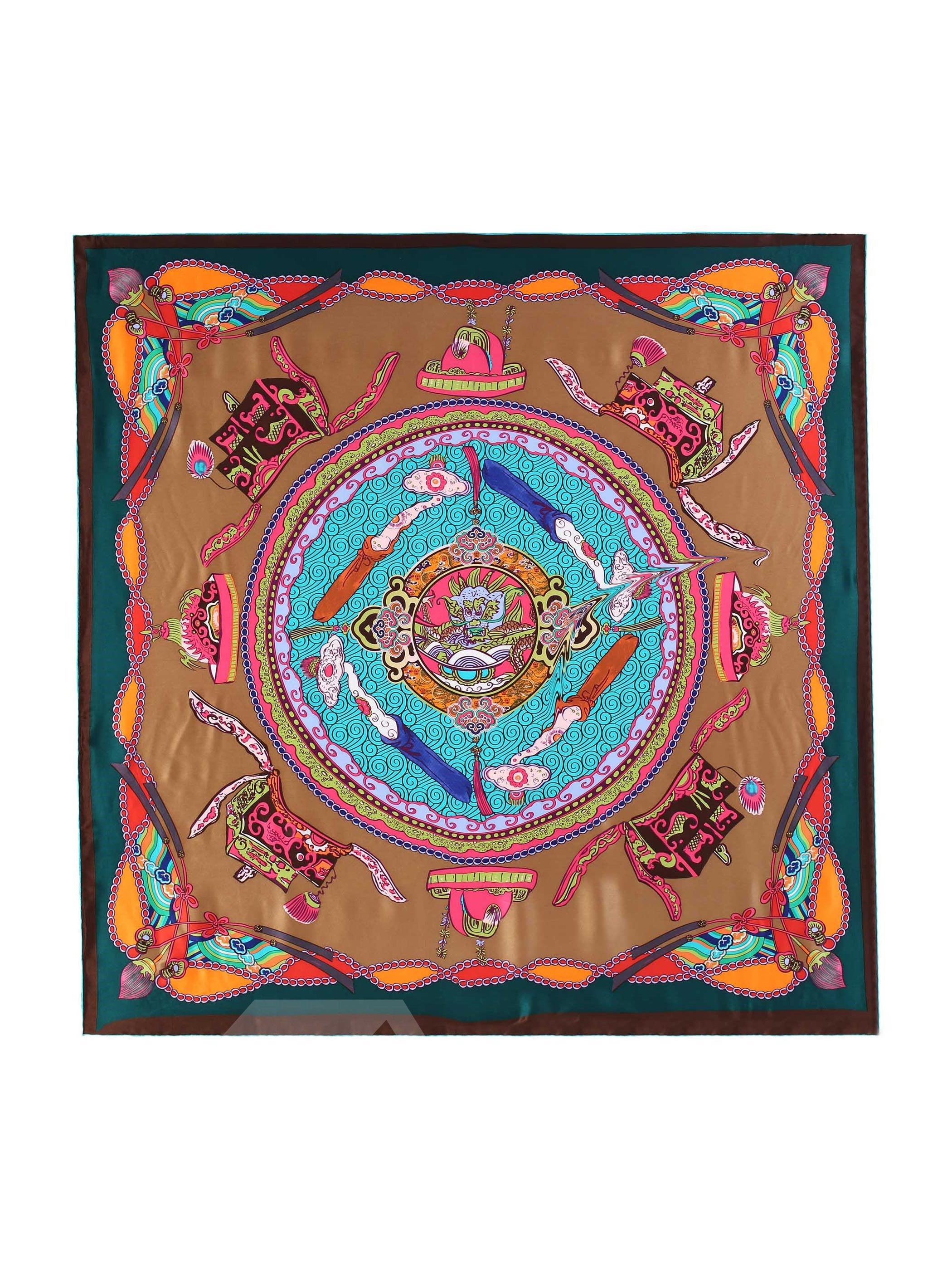 Auspicious Clouds Print Green Mulberry Silk Square Scarf
