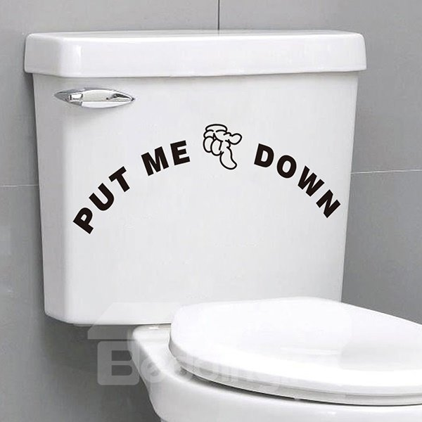 Words and Quotes Bathroom Toliet Put Me Down Removable Wall Sticker