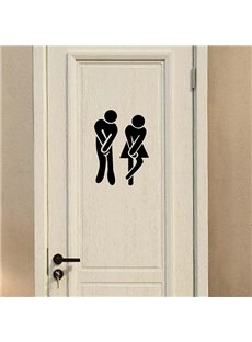 Funny Bathroom Urgency Male and Female Removable Wall Sticker
