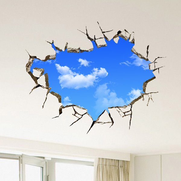 creative broken wall blue sky removable 3d wall sticker ForSticker Mural 3d