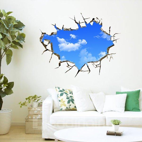 Creative Broken Wall Blue Sky Removable 3D Wall Sticker