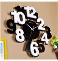 Modern Simple Wood Digit Black and White Wall Clock