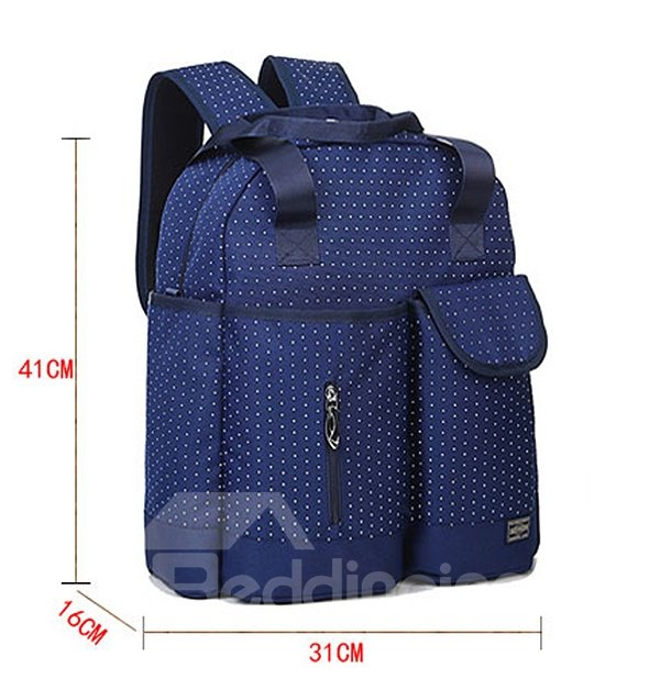 Chic Royal Blue Polka Dot Pattern Diaper Bag