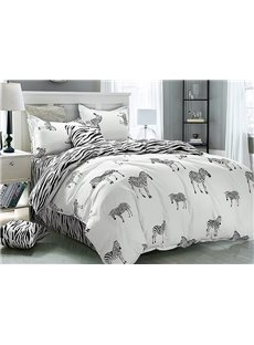 Unique Zebra Print 4-Piece Cotton Duvet Cover Sets