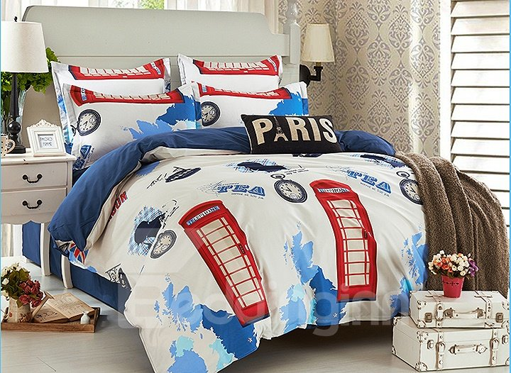 Telephone Booth Print 4-Piece Cotton Duvet Cover Sets