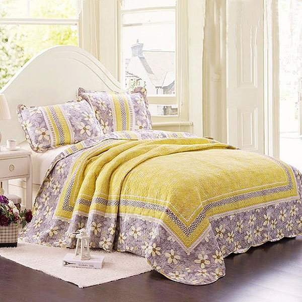 Korean Style Fresh Flowers Lacework Yellow Bed in a Bag