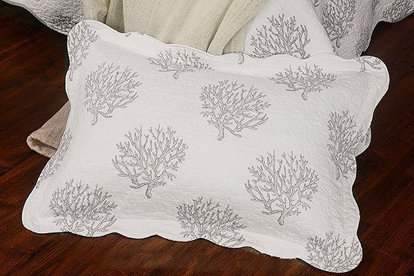 Fresh Concise Coral Print White Cotton Bed in a Bag