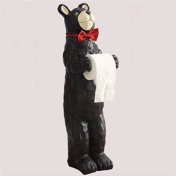 Lovely Black Bear with Tie Shape Toilet Paper Holder