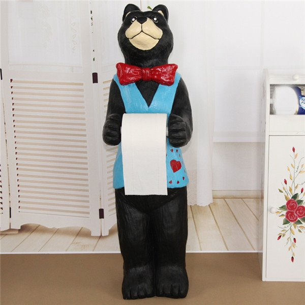 Cute Bear Waiter Shape Large Size Toilet Paper Holder