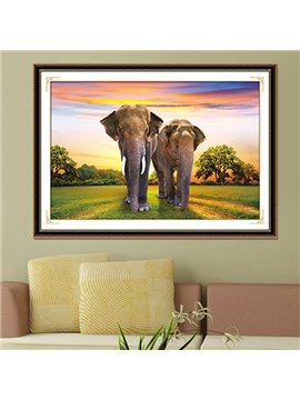 Majestic Elephants Walking in Fields DIY Diamond Stickers