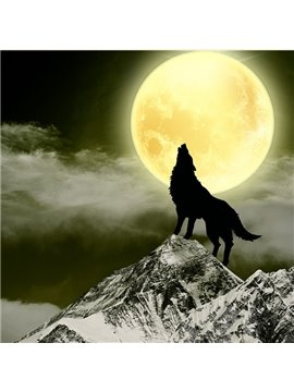 Amazing Wolf Howling in Bright Full Moon DIY Diamond Stickers