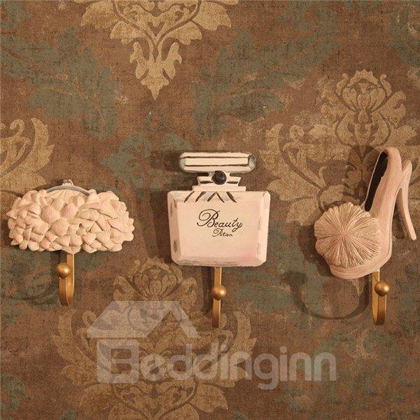 Ladylike Bag Perfume Shoe Image 3-piece Bathroom Hooks