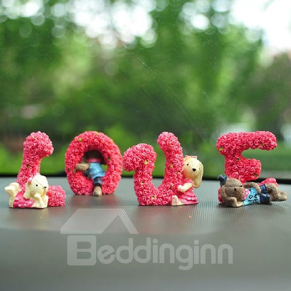 Rabbits Playing In Love Word Creative Car Decor
